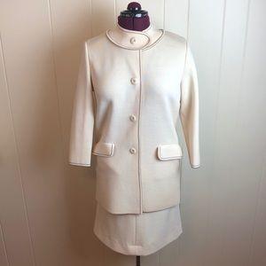 Vintage 70s/80s Ivory Wool 2pc Jacket Skirt Set